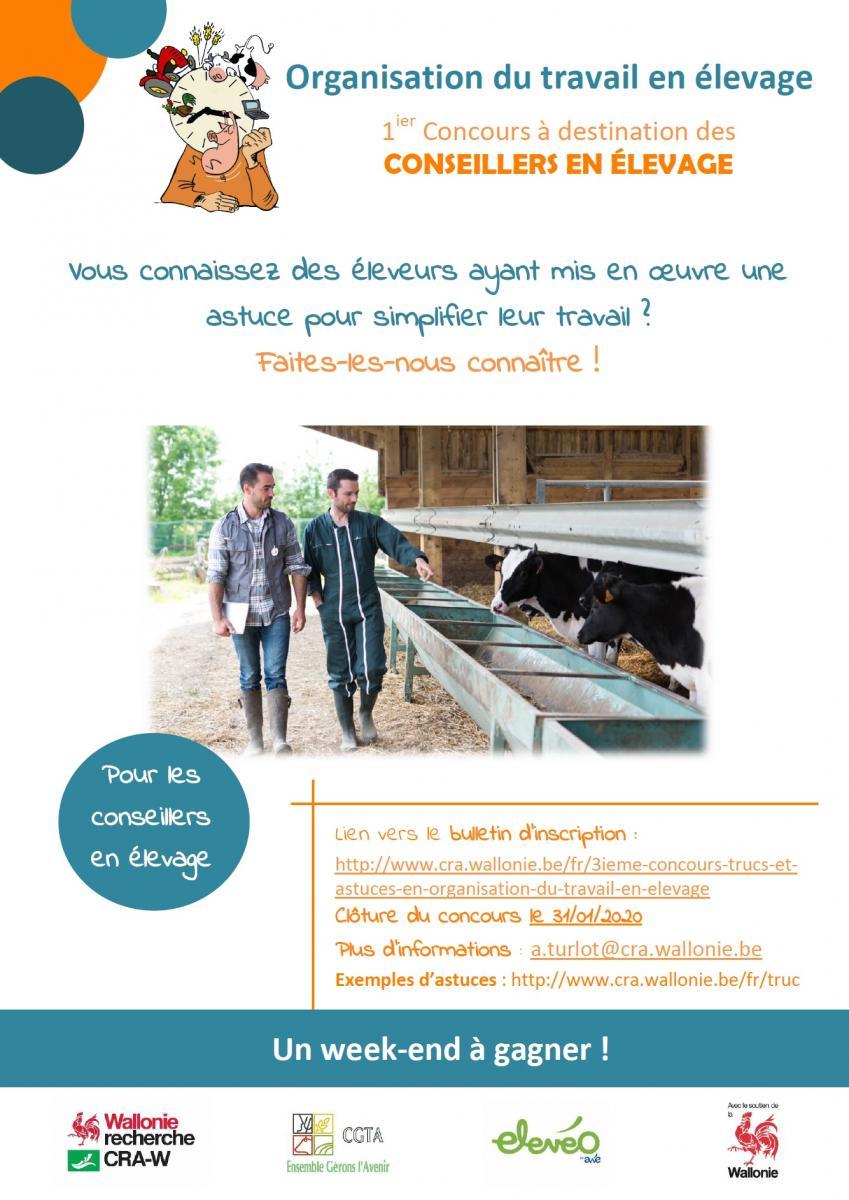 Organisation du travail en élevage. 1er Concours à destination des CONSEILLERS EN ÉLEVAGE