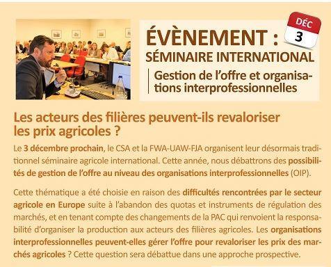 Offre en produits agricoles et Organisations de producteurs. 3/12 à Gembloux. Les présentations