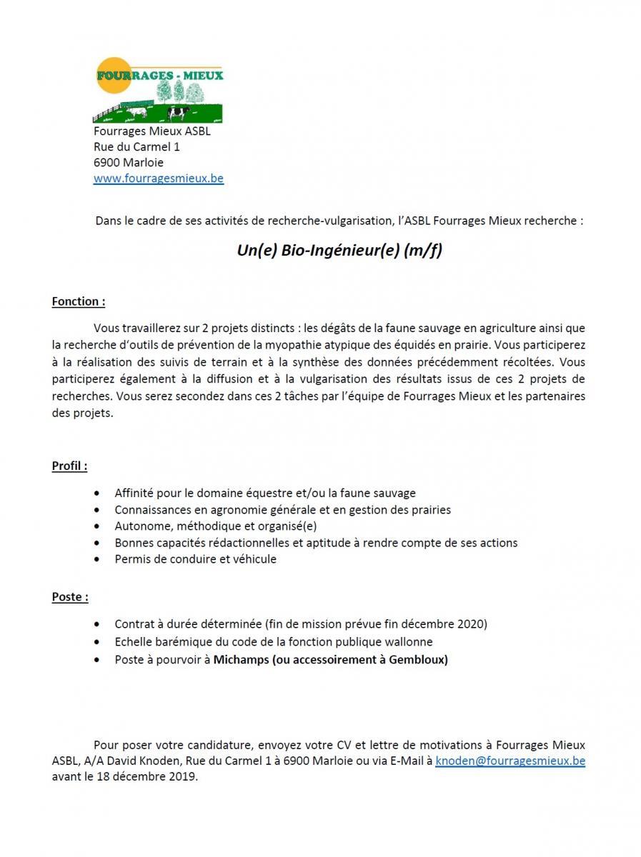 Fourrages Mieux recherche un(e) BIO-INGENIEUR(e) (m/f)