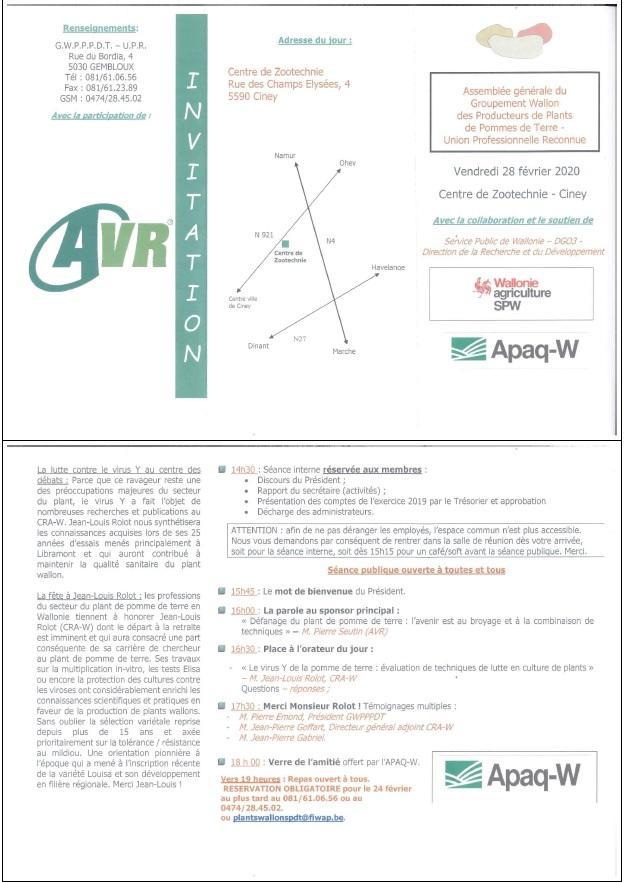 AG du Groupement Wallon des Producteurs de Plants de Pommes de Terre (GWPPPT)