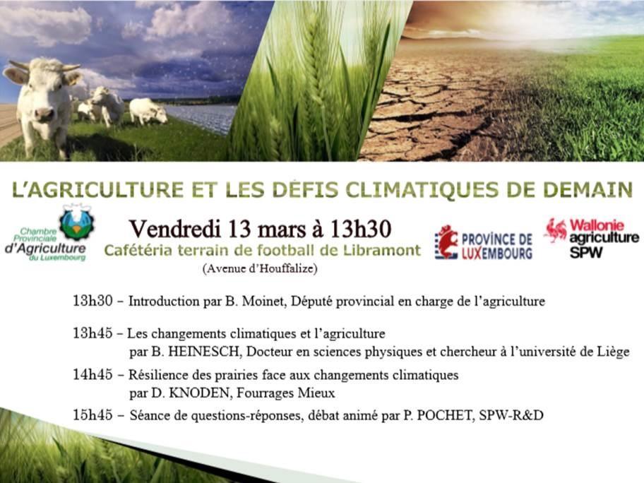 L'agriculture et les changements climatiques de demain - Libramont