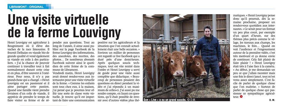 Grand succès pour la visite virtuelle de la Ferme Louvigny