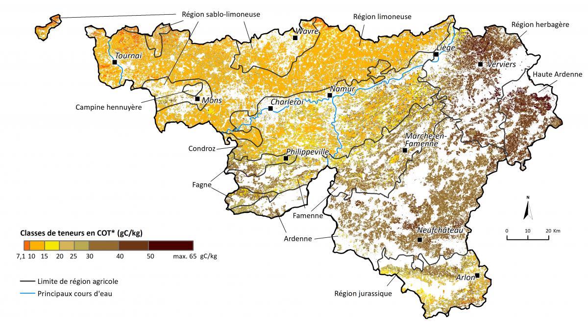 Matière organique dans les sols agricoles de Wallonie