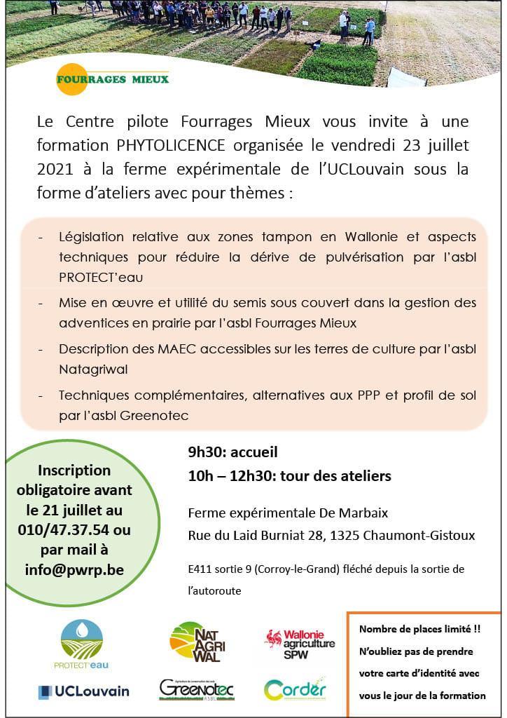 Formation PHYTOLICENCE ce vendredi 23 juillet à la Ferme expérimentale de Marbaix (UCLouvain).