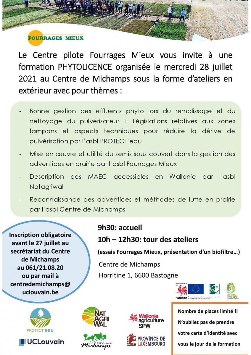 FORMATION PHYTOLICENCE le 28 juillet à 9h30 au Centre de Michamps (Bastogne)