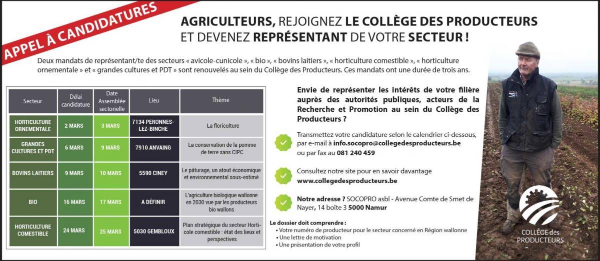 Appel aux producteurs : élections de nouveaux représentants par filières, au Collège des Producteurs