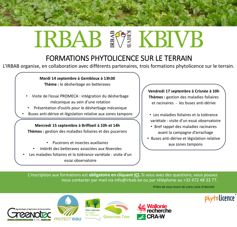 Formation phytolicence IRBAB 15/09 10h et 14h à Briffoeil