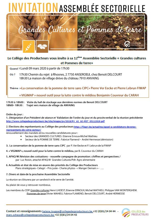 [9 mars] La conservation de la pomme de terre sans CIPC / VIGIMAP, nouvel outil pour la lutte contre le midliou