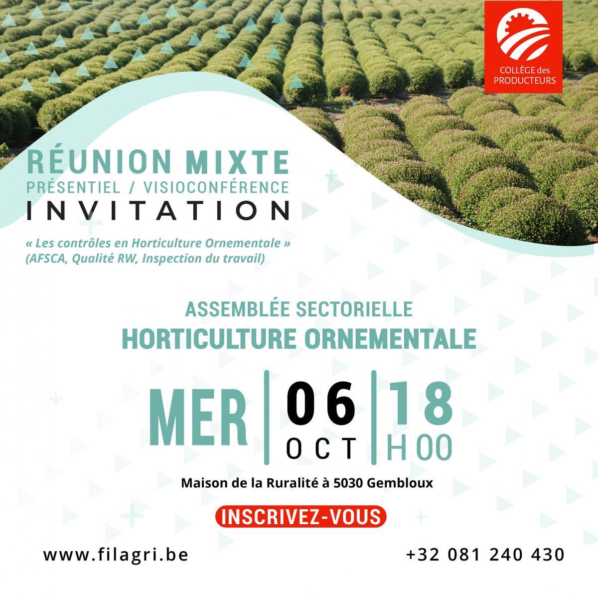 Assemblée sectorielle Horticulture Ornementale - Mercredi 6? octobre à 18h