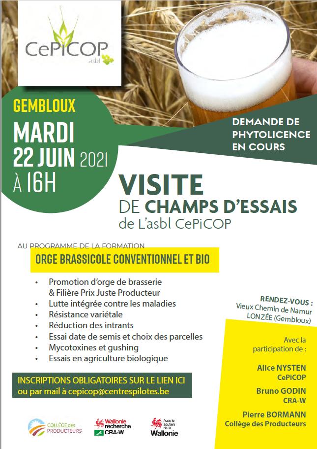 Visite de champs d\'essais d\'orge brassicole (conventionnel et bio), 22 juin à 16h