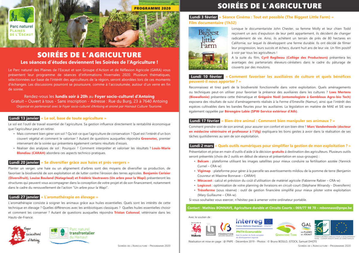 Soirées de l\'Agriculture du Parc naturel des Plaines de l\'Escaut