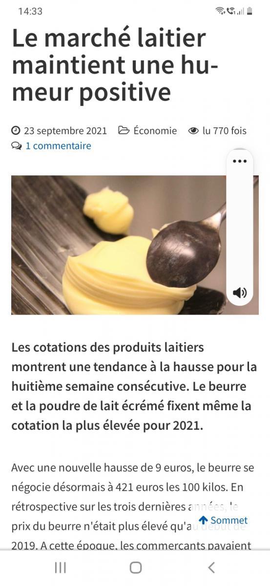 Hausse spectaculaire du beurre...