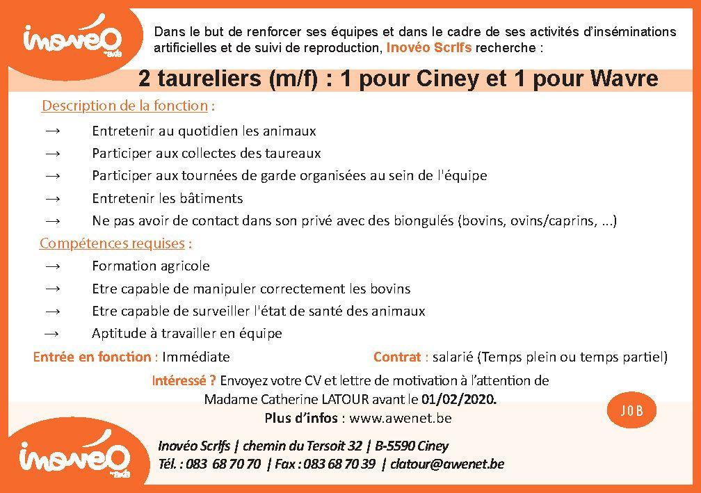 JOBS - Inovéo recherche 1 taurelier pour Ciney et 1 taurelier pour Wavre